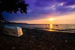 Paesaggio epico di tramonto dell'oceano Fotografie Stock Libere da Diritti