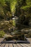 Paesaggio etereo sbalorditivo della gola in profondità parteggiata con le pareti della roccia Fotografia Stock