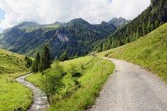 Paesaggio europeo delle alpi della valle di Schwarzachtal in Zillertal & in x28; Au Fotografia Stock