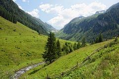 Paesaggio europeo delle alpi della valle di Schwarzachtal in Zillertal & in x28; Au Immagine Stock Libera da Diritti