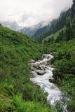 Paesaggio europeo delle alpi della valle Tirolo Austria di Zillertal Fotografia Stock
