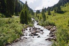 Paesaggio europeo delle alpi della valle Tirolo Austria di Zillertal Fotografie Stock
