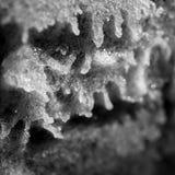Paesaggio extraterrestre astratto Bicarbonato di sodio; prodotto di reazione chimica dell'all'aceto; acetato del sodio; ghiaccio  fotografia stock
