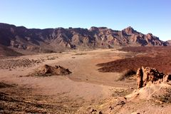 Paesaggio extraterrestre nel parco nazionale di Teide fotografie stock libere da diritti