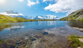 Paesaggio fantastico con il lago sui precedenti di Mont Blanc, F Immagine Stock Libera da Diritti
