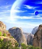 Paesaggio fantastico con il pianeta immagine stock libera da diritti