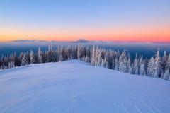 Paesaggio fantastico con le alte montagne in neve, in nebbia strutturata densa ed in un'alba nel giorno di inverno freddo immagini stock libere da diritti