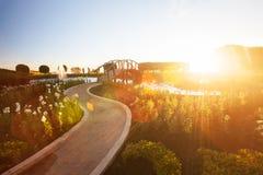 Paesaggio fantastico del giardino tropicale con la fontana al tramonto, regolazione luminosa con il bello chiarore della lente, r fotografia stock libera da diritti