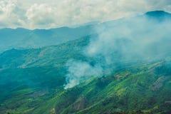 Paesaggio fantastico delle montagne di Dalat, del Vietnam, dell'atmosfera fresca, della villa fra la foresta, della forma dell'im Fotografia Stock Libera da Diritti