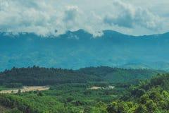 Paesaggio fantastico delle montagne di Dalat, del Vietnam, dell'atmosfera fresca, della villa fra la foresta, della forma dell'im Fotografia Stock
