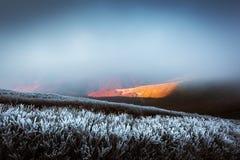 Paesaggio fantastico di autunno con gelo fotografia stock libera da diritti