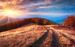 Paesaggio fantastico di autunno di colori nelle montagne carpatiche fotografie stock libere da diritti