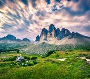 Paesaggio fantastico di colori nel parco nazionale Tre Cime di Lava Fotografia Stock
