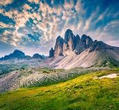 Paesaggio fantastico di colori nel parco nazionale Tre Cime di Lava Immagine Stock Libera da Diritti