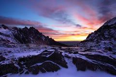 Paesaggio fantastico di inverno di mattina e di sera Cielo nuvoloso variopinto Albero innevato magico del mondo di bellezza immagini stock