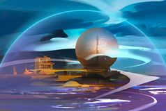 Paesaggio fantastico dipinto luminoso con un osservatorio royalty illustrazione gratis
