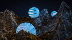 Paesaggio fantastico la superficie del pianeta rappresentazione 3d royalty illustrazione gratis