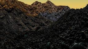 Paesaggio fantastico la superficie del pianeta rappresentazione 3d illustrazione di stock