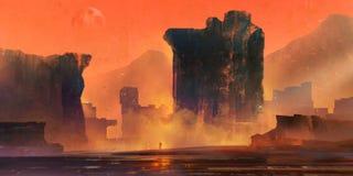 Paesaggio fantastico luminoso dipinto con le montagne ed il viaggiatore illustrazione di stock