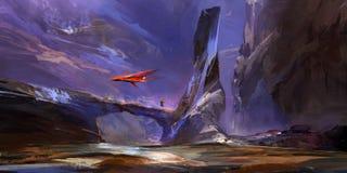 Paesaggio fantastico tirato della montagna del futuro illustrazione vettoriale