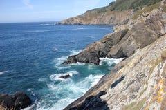 Paesaggio a Ferrol, Valdoviño, Spagna Mare e rocce Fotografie Stock