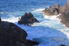 Paesaggio a Ferrol, Valdoviño, Spagna Mare e rocce Fotografia Stock Libera da Diritti