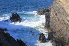 Paesaggio a Ferrol, Valdoviño, Spagna Mare e rocce Fotografia Stock