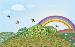 Paesaggio floreale con il Rainbow Immagini Stock