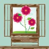 Paesaggio floreale della finestra di legno Fotografia Stock Libera da Diritti