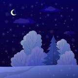Paesaggio, foresta di inverno di notte Immagine Stock Libera da Diritti