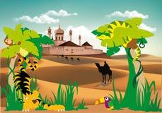 Paesaggio-fortezza nel deserto, nella palma e negli animali selvatici Fotografia Stock