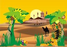 Paesaggio-fortezza nel deserto, nella palma e negli animali selvatici Fotografie Stock