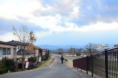 Paesaggio fuori della città di Fukushima, Giappone 2018 fotografia stock