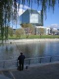 Paesaggio futuristico con il pescatore Fotografia Stock
