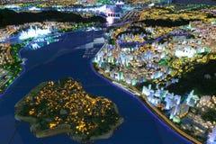 Paesaggio futuro dell'occidentale della città amoy, porcellana Immagini Stock Libere da Diritti
