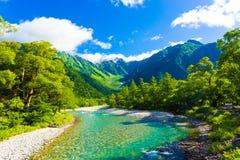 Paesaggio H del fiume di Hotaka-Dake del supporto di Kamikochi Immagine Stock