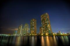 Paesaggio HDR di notte a Tokyo fotografie stock libere da diritti