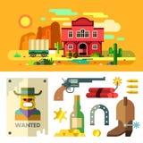 Paesaggio, icone ed oggetti di selvaggi West piano Fotografia Stock Libera da Diritti