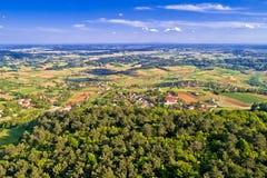 Paesaggio idilliaco della Croazia rurale nella regione di Prigorje Fotografia Stock Libera da Diritti