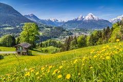 Paesaggio idilliaco della molla nelle alpi con il chalet tradizionale della montagna Fotografia Stock