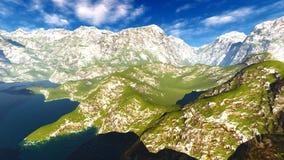 Paesaggio idilliaco di estate nella rappresentazione delle alpi 3d Immagini Stock Libere da Diritti