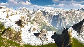 Paesaggio idilliaco di estate nella rappresentazione delle alpi 3d Immagini Stock