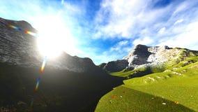 Paesaggio idilliaco di estate nella rappresentazione delle alpi 3d Fotografie Stock