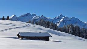 Paesaggio idilliaco di inverno vicino a Gstaad Fotografie Stock Libere da Diritti