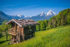 Paesaggio idilliaco di primavera nelle alpi con il cottage tradizionale della montagna Fotografia Stock