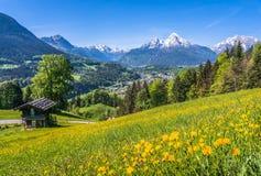 Paesaggio idilliaco di primavera nelle alpi con la casetta tradizionale della montagna Fotografia Stock Libera da Diritti