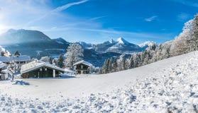 Paesaggio idilliaco nelle alpi bavaresi, Berchtesgaden, Germania Immagini Stock