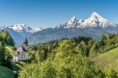 Paesaggio idilliaco nelle alpi bavaresi, terra di Berchtesgadener, Baviera, Germania della montagna Fotografia Stock Libera da Diritti