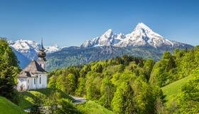 Paesaggio idilliaco nelle alpi bavaresi, terra di Berchtesgadener, Germania della montagna Fotografia Stock Libera da Diritti