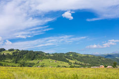 Paesaggio idilliaco nelle alpi con i prati verdi freschi Fotografia Stock Libera da Diritti